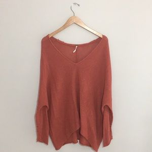 Free People burnt orange knit slouch sweater